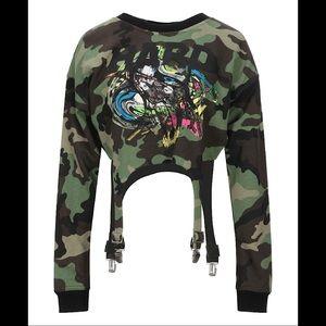 Jeremy Scott Camo Print Sweatshirt W/ Suspenders